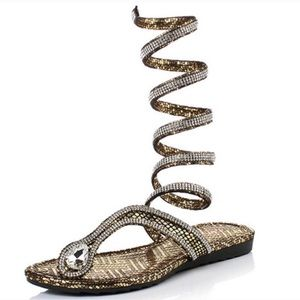 Wrap Around Crystal Rhinestone Gladiator Sandals